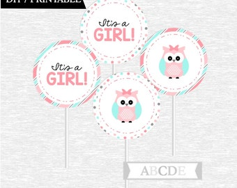 Instant Download Coral Blue Owl Cupcake Toppers, Its a Girl toppers DIY Printable (POW002)