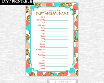 Instant Download Coral Turquoise Glitter Gold Confetti Girl Baby shower Game, Baby animals DIY Printable ( SWGL002)