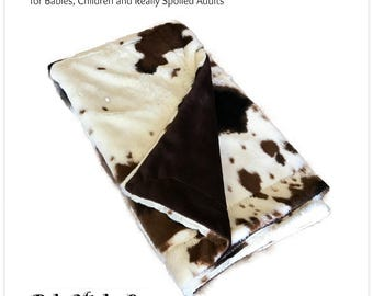 Worlds Softest Minky Cuddle Fur Blanket - Reversible Soft Brown Spotted Cow Minky With Brown Minky Cuddle Fur All Sizes and Colors