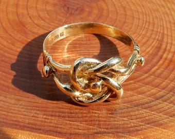 "Vintage 1970's  9K yellow gold ""Lovers Knot Ring"""