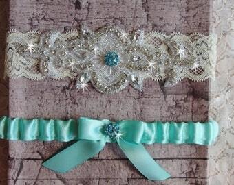 Aqua Blue Wedding Garter Set, Wedding Dress, Lace and Satin Bridal Garter, Something Blue Garter, Rhinestone Garter, Wedding Garder