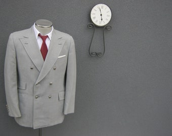 1950s Rogue by Hyde Park Ivy League Gray Double-Breasted Blazer / Vintage Wedding Classic Suit Jacket Size 40 Medium / Mad Men / Union Made