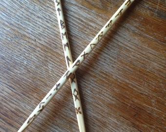 Wooden Hair Pins Sticks Runes Elder Futhark