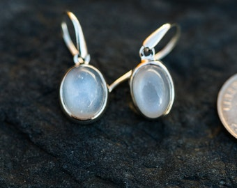 Orthoclase Moonstone Earrings - Orthoclase Moonstone Dangle Earrings - Real Moonstone Dangles - Orthoclase Earrings - Sterling Silver