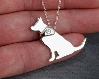 Australian Cattle Dog Handcrafted sterling silver necklace
