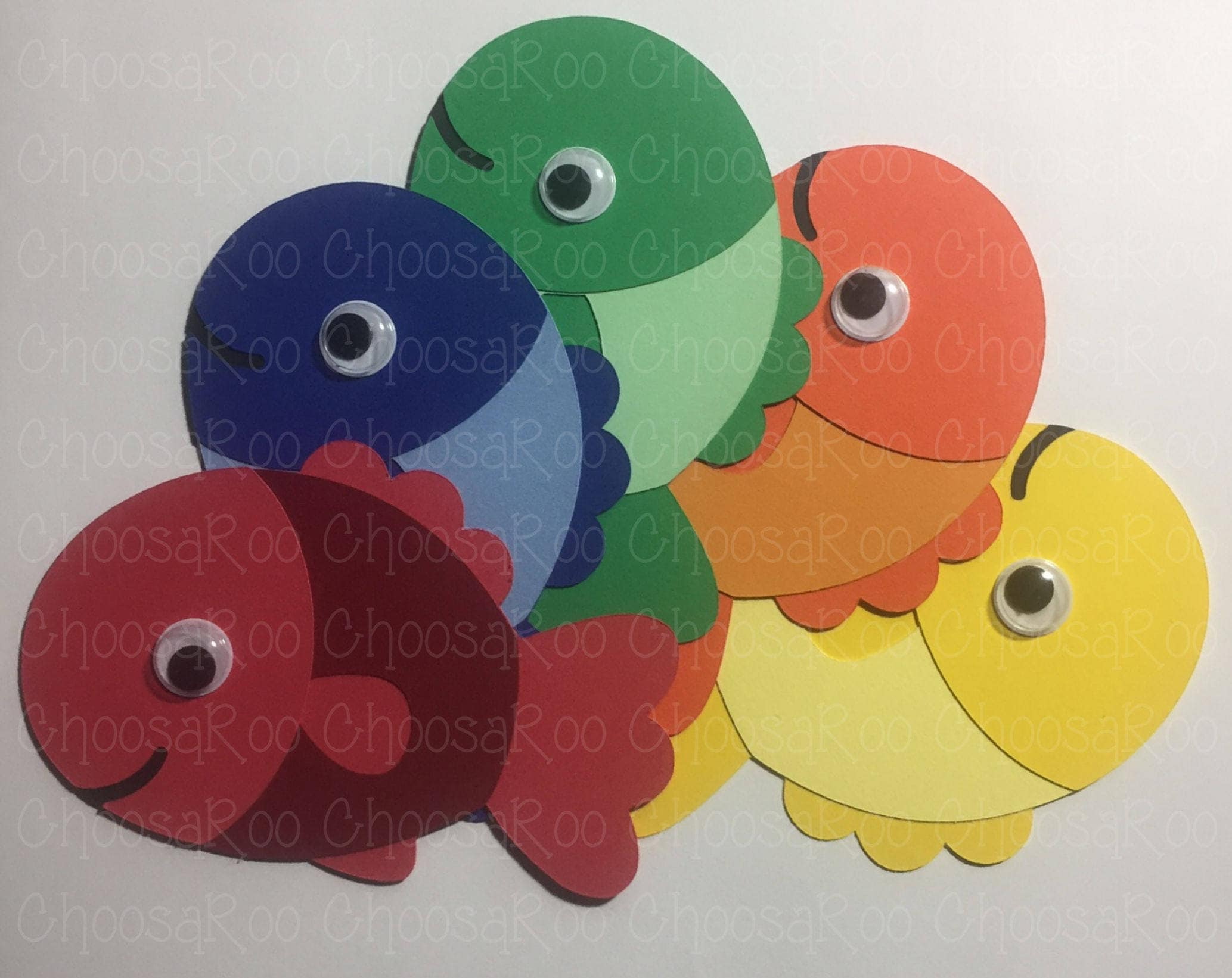 7 googly eyed fish cutouts set of 5 for One eyed fish
