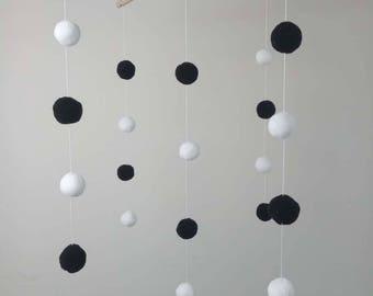 black white felt ball baby mobile Nursery decoration ,Nature Mobile,Baby Mobile Hanging,Crib Mobile