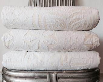 White appliqué bedspread - SALE 25% OFF - kingsize bedspread, handstitched, pure cotton