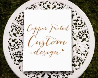Custom Copper Foil Wedding Guest Book, Copper Wedding Guest Book, Copper Guest Book, Bridal Guest Book