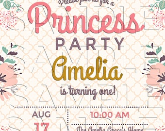 Princess Birthday, Invitation, Announcements, Crown,Princess Birthday, Personalized Invite, DIY Printables, Invitation ,Digital Invite