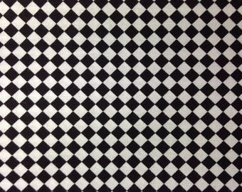 One Half Yard of Fabric Material, Quilting Cotton - Black and White Checker