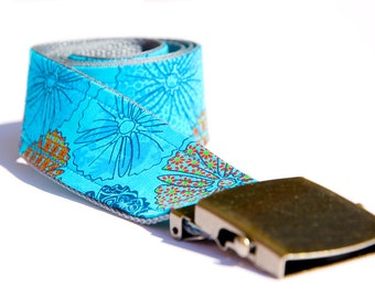 Fabric - belt blue flower pattern