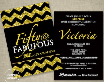 Surprise 50th Birthday Invitation Fifty and Fabulous invite Gold Glitter Effect Formal Double Sided Printable Party Invite JPEG file 225a