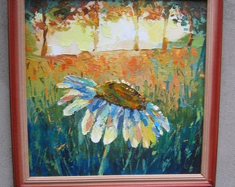 Picture Art Original Oil Painting Chamomile