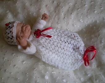 "Hand knitted 8"" Ashton Drake doll outfit - sleep bag"