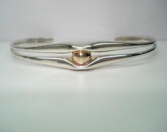 Ed Levin Modernist Sterling Silver  14 Kt Gold Cuff Bracelet