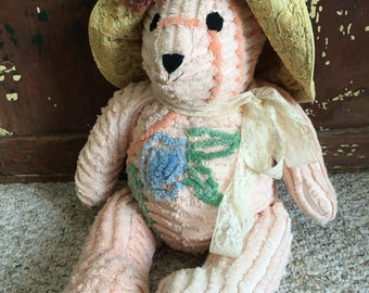 Vintage// ALL Handmade// Chenille// Teddy Bear// Aged French Ecru Lace// Old Faded Ballet Pink// So Chubby & Completely Adorable!