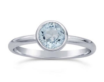 Blue Topaz Solitaire Sterling Silver Ring, Bezel Gemstone Ring, Size 6, Ready to Ship, March Birthstone