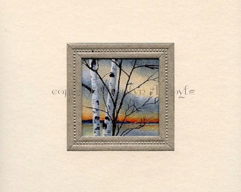 ORIGINAL MINIATURE PAINTING; watercolor, 8 x 8 inch cream mat, silver edging around image, wall art, birches,