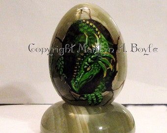 Hand Painted STONE EGG; baby dragon hatching, green dragon, fantasy, shelf art, original art,