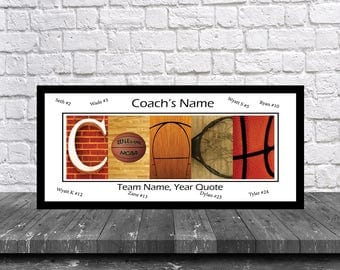 Basketball Coach Team Signature Print - Basketball Coach Team Gift - Basketball Coach Gift - Best Coach Gift - Coach Print -Basketball Coach