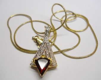 14 k Gold Plated over Sterling Silver Garnet Necklace