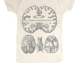 Brain: Under Construction Baby Bodysuit | Anatomy, Organic Onesie, baby shower, Teacher Gift, Development, Anatomical Brain, nursing neuron