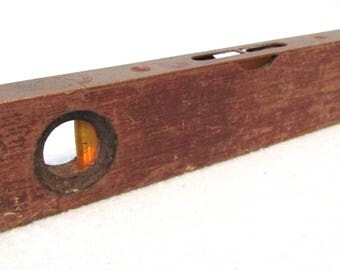 Vintage English Wooden and Brass Spirit Level, Working Order, GTL British Made, Vintage Tools, Collectible Piece, Old Level, Display Piece