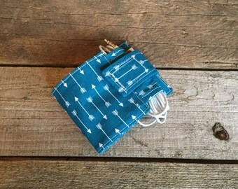 Wallet and Earbud Holder, teal arrows