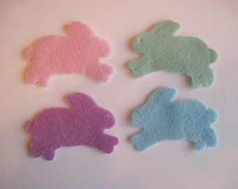 "Die Cut felt Bunnies -- 2"" (5 cm) wide. Die cut. Several colors to choose from. Great for crafts, wax dipping, etc. Ready to ship."