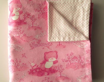 "Flannel Blanket - ""Pink Baby Bear"""