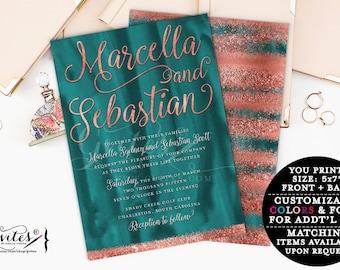 Teal & Copper wedding invitation, modern, rose gold glitter printable invitations, couture summer wedding, glitz and glam fashion designer.