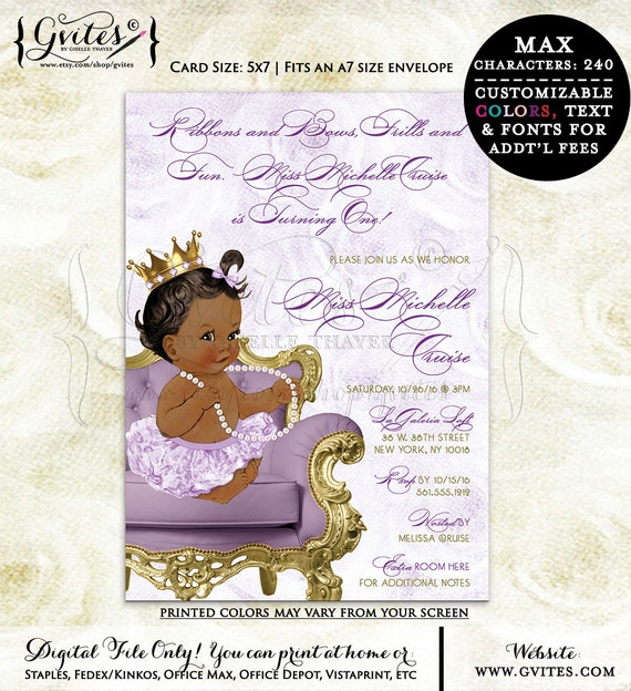 Ribbons and bows diamonds pearls, first birthday invitation, African American lavender gold, printable digital invitations, 5x7. {You Print}