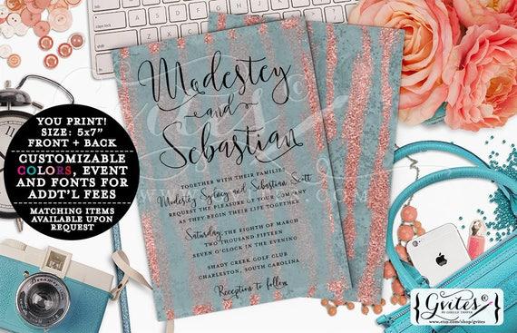 Blue and Peach rose wedding summer invitation, printable summer wedding invites, glitz glam, modern, rose glitter watercolor, double sided.