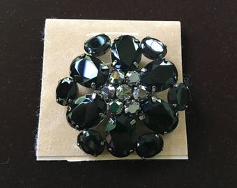 Vintage brooch Talbots NOS on card~ black and silver glass with silver center~costume jewelry~ 1980s from MilkweedVintageHome