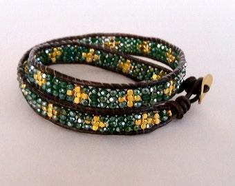 Brown Wrap Bracelet Leather, Chan Lulu Bracelet, Dark Brown Leather Bracelet, Leather Beaded Wrap, Bohemian Wrap Bracelet, Leather Wrap