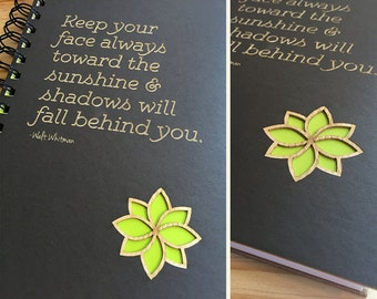Walt Whitman Inspirational Quote Laser Cut Notebook Journal (Gray Cover)