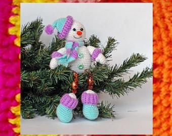 Crochet Pattern. Happy Snowman. Souvenir toy