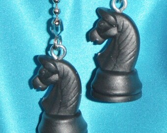 Set of Two ~ Black Knight Chess Game ~ Ceiling Fan Pulls