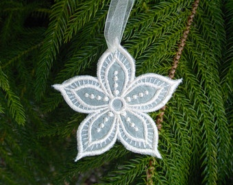 FSL Christmas Snowflake ~ Flower ~ Ornament ~ Christmas ~ Holiday ~ Wreath ~ Gift ~ Machine Embroidered on Cream Organza Set of 3