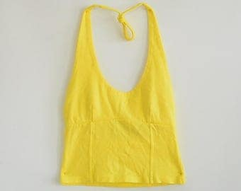 90's Yellow Knit Stretch Halter Crop-Top Small Beach-Athletic Energie Brand