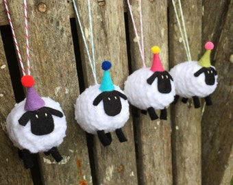 Knitted Sheep in Party Hat Decorations