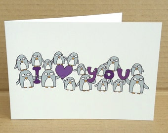 Anniversary Card - Cute Penguins - I love you - Card for Girlfriend - Boyfriend - Wife - Husband- partner