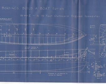 Vintage Motor Boat Ship Blueprint c.1940s Outboard Speedster Nautical Art Urban Industrial Decor
