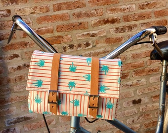 Palm and stripes cotton canvas and leather bicycle bag/ handlebar bag/ shoulder bag/ palm trees bag/ cross body bag