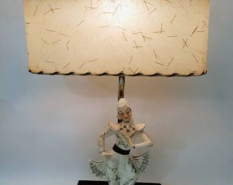 Retro 50's 60's lamp with asian porcelain dancer