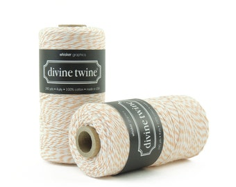 Peach,  Bakers Twine-240 Yards. Divine Twine, Bakers Twine. Gift Tags, Wedding, Tag Twine, Cotton, Made in USA