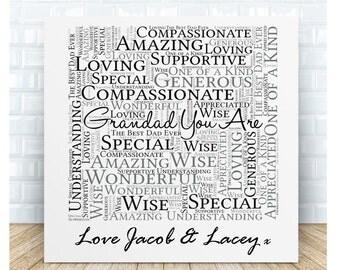 Personalised Grandad Word Art Ceramic Plaque.