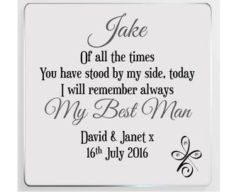Best Man Personalised Wedding Poem Glass Plaque