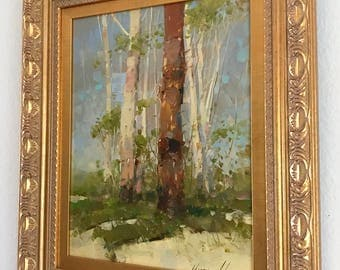Birches Trees, original oil painting, classic art, handmade artwork, Framed, one of a kind
